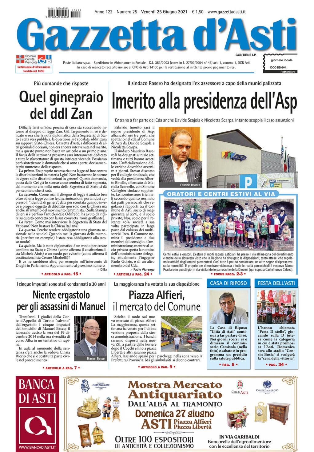 Prima pagina – 25 giugno 2021