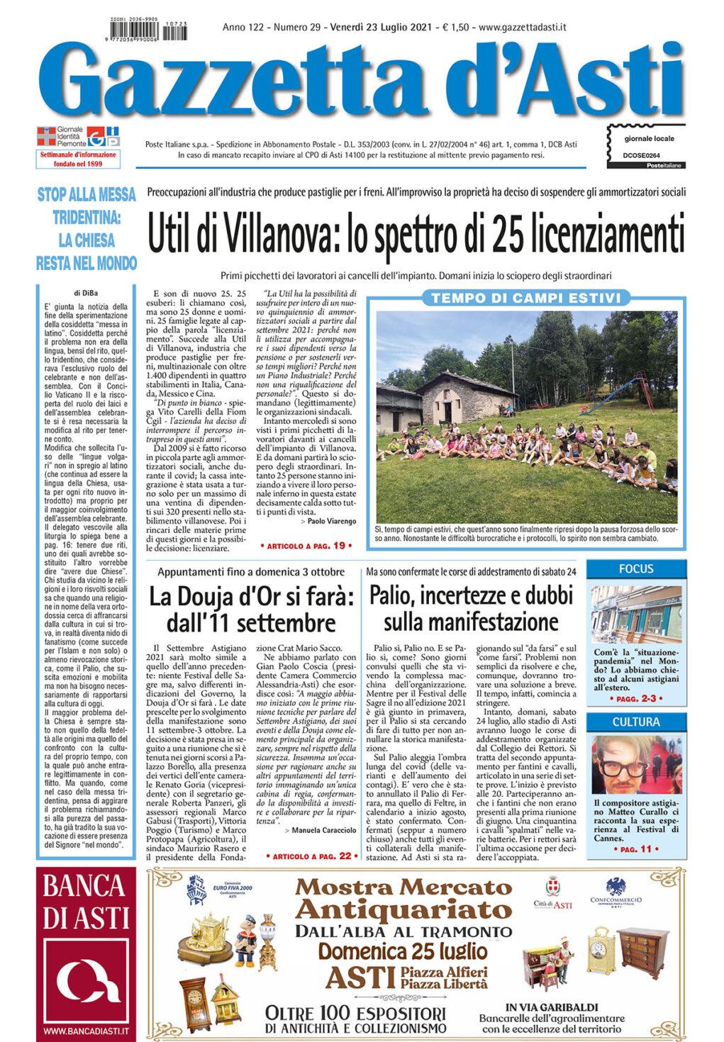 Prima pagina – 23 luglio 2021