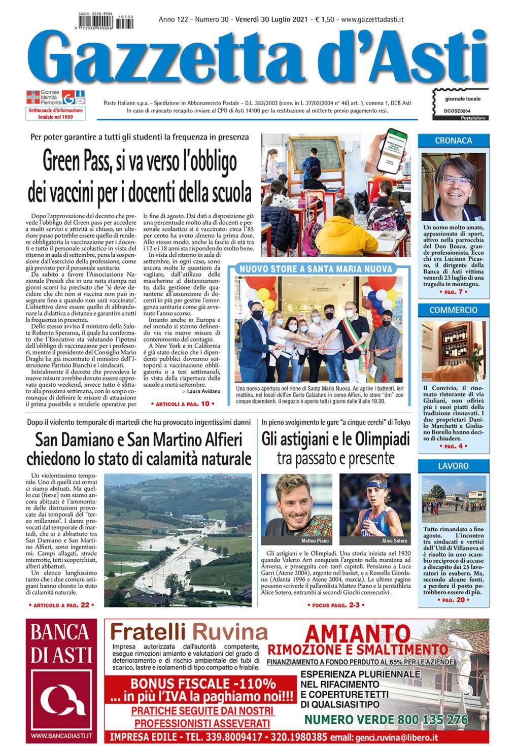 Prima pagina – 30 luglio 2021