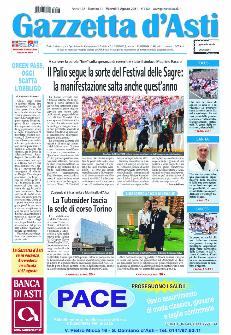 Prima pagina – 6 agosto 2021