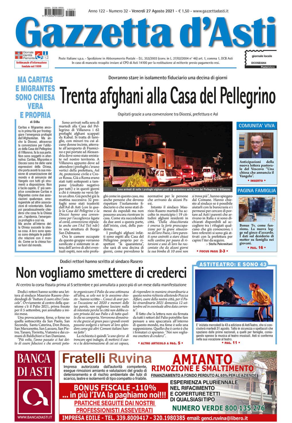 Prima pagina – 27 agosto 2021