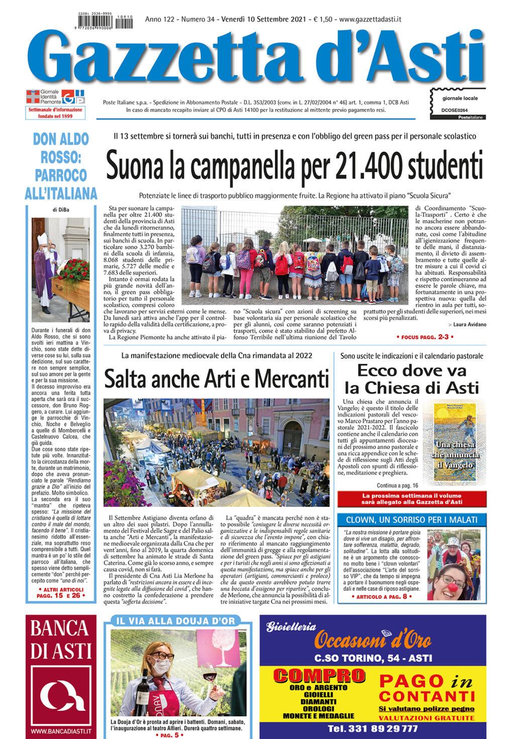 Prima pagina – 10 settembre 2021